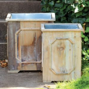 Reclaimed Wood Medallion Planters, Set of 2, w/tin liners