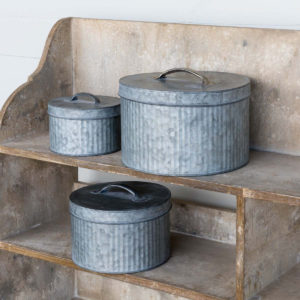 Tin Sewing Boxes Set of 3