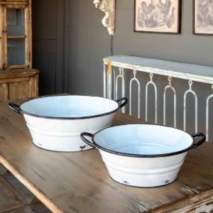 Enamel Painted Farm Tubs Set of 2