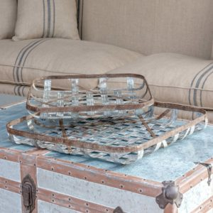 Woven Metal Tobacco Basket Set of 2