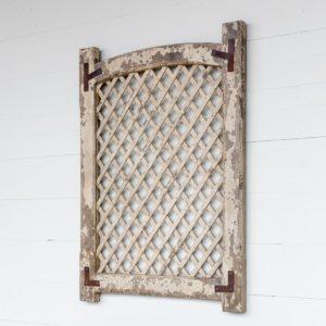 Old White Framed Lattice Panel