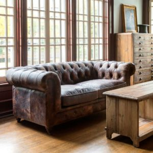 Aged Leather Cattlemans Club Sofa