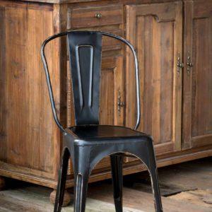Antique Black Metal Bistro Chair   Min 2