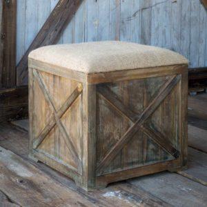 Square Burlap Box Seat