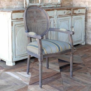 Oval Cane Back Dining Arm Chair with Blue Linen Stripe Seat
