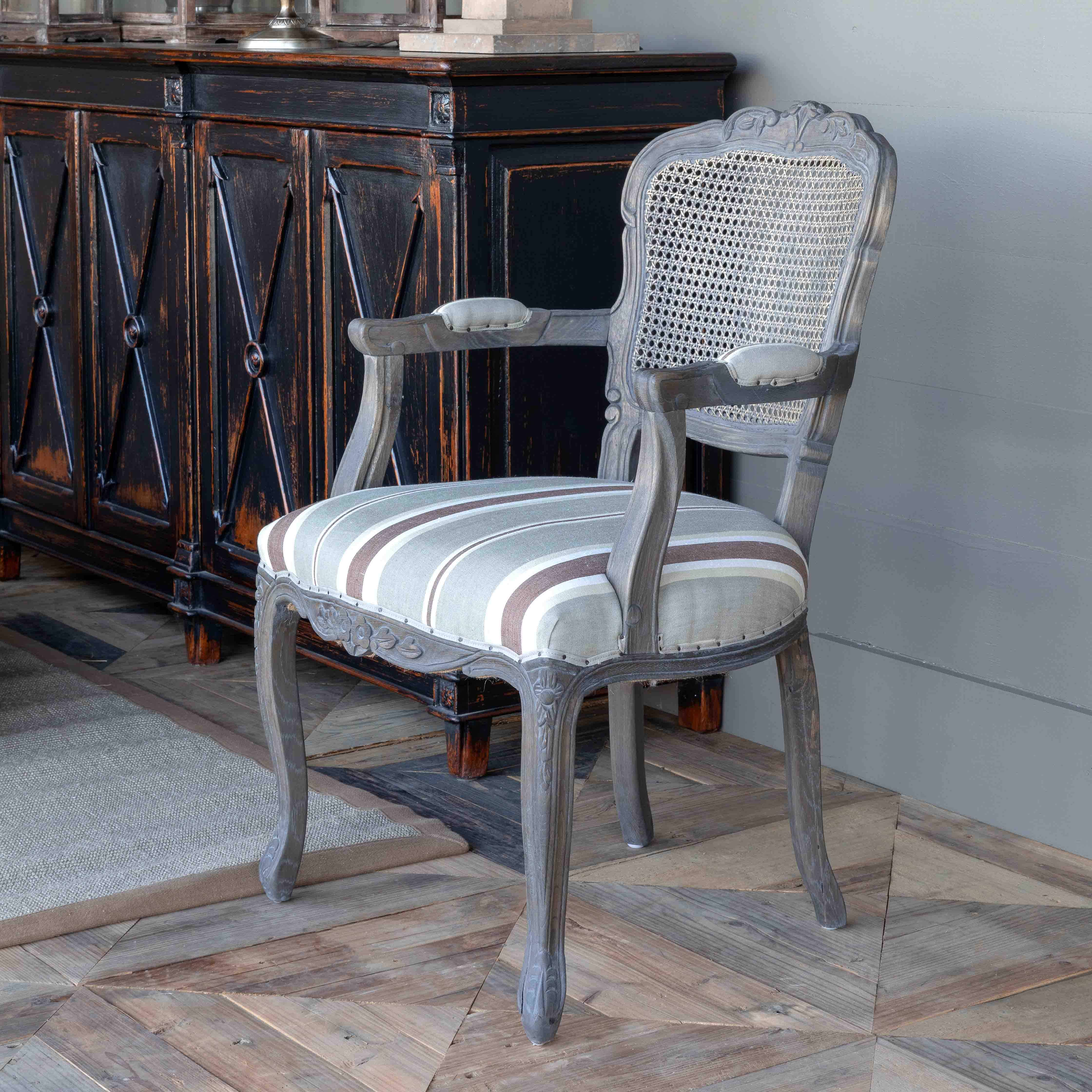 Crested Cane Back Dining Arm Chair w/Brown Linen Stripe Seat