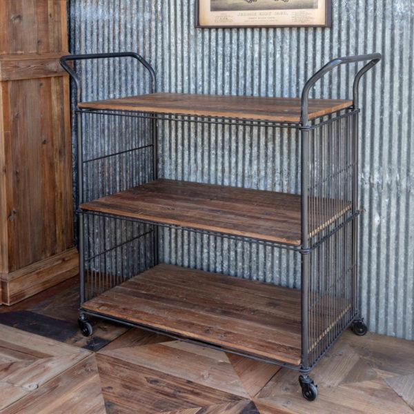 Reclaimed Wood & Metal Kitchen Cart
