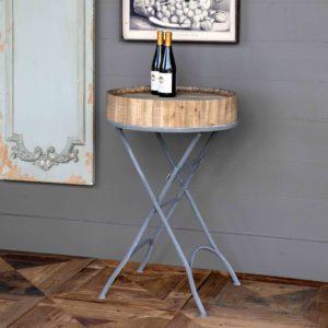 Folding Wine Barrel Topped Table