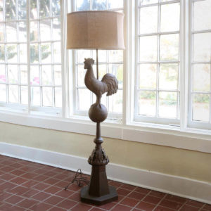 Metal Rooster Finial Floor Lamp