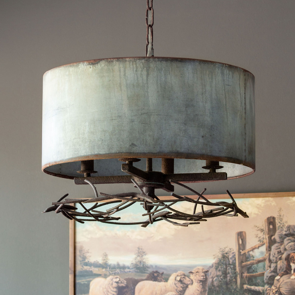 Iron Twig Chandelier With Metal Shade