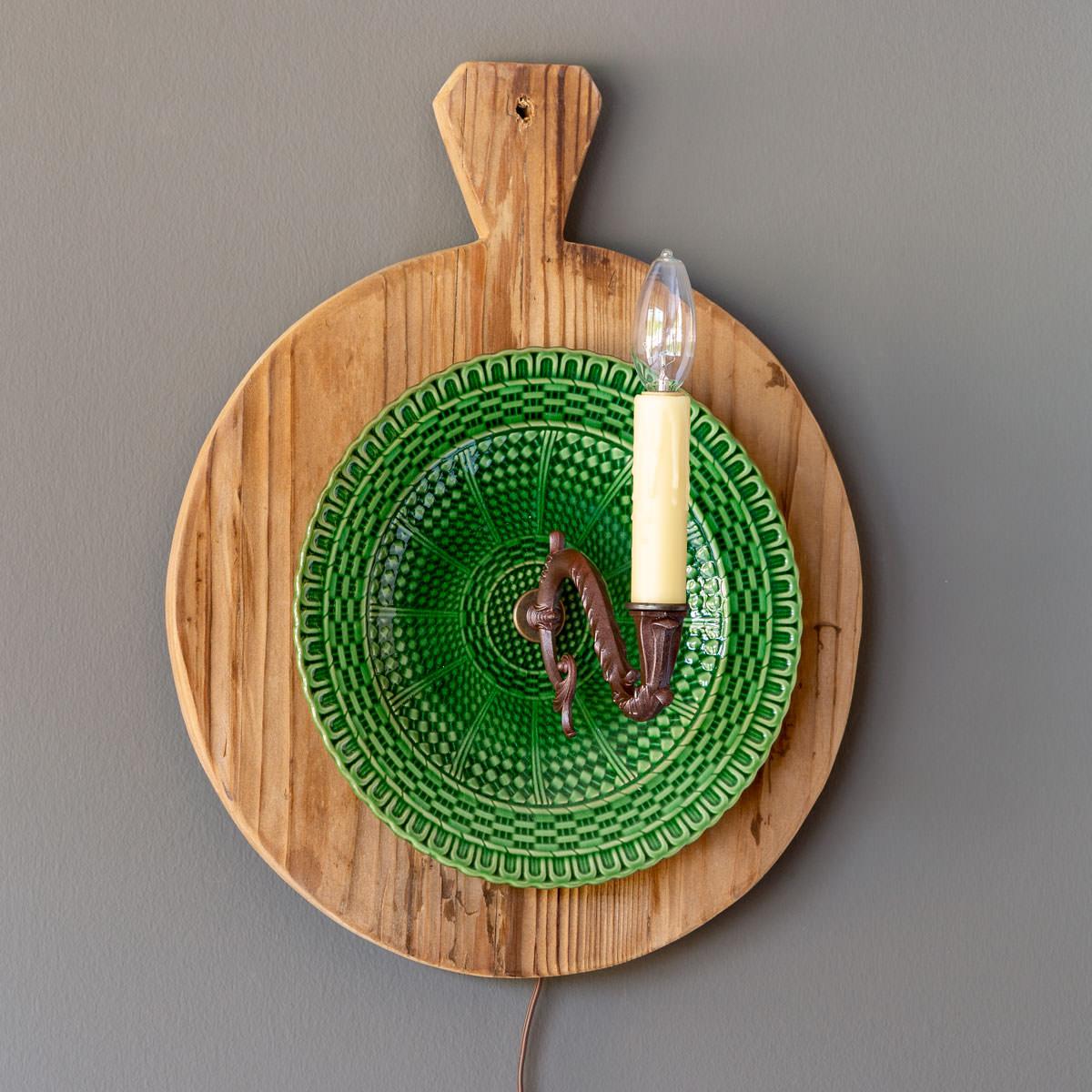 Creamware Basket Weave Plate Wall Sconce
