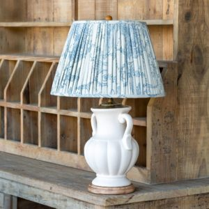 Ceramic Table Lamp With French Qtr Blue Shade