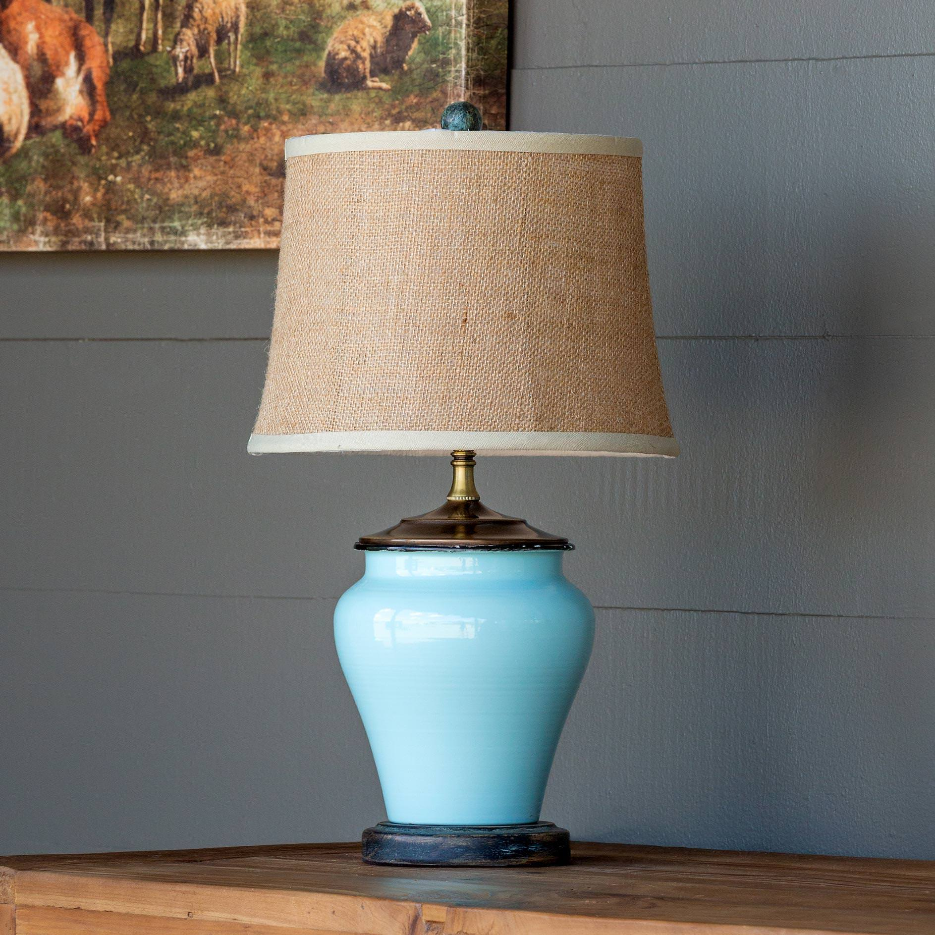 Enamel Ginger Jar Vase Lamp
