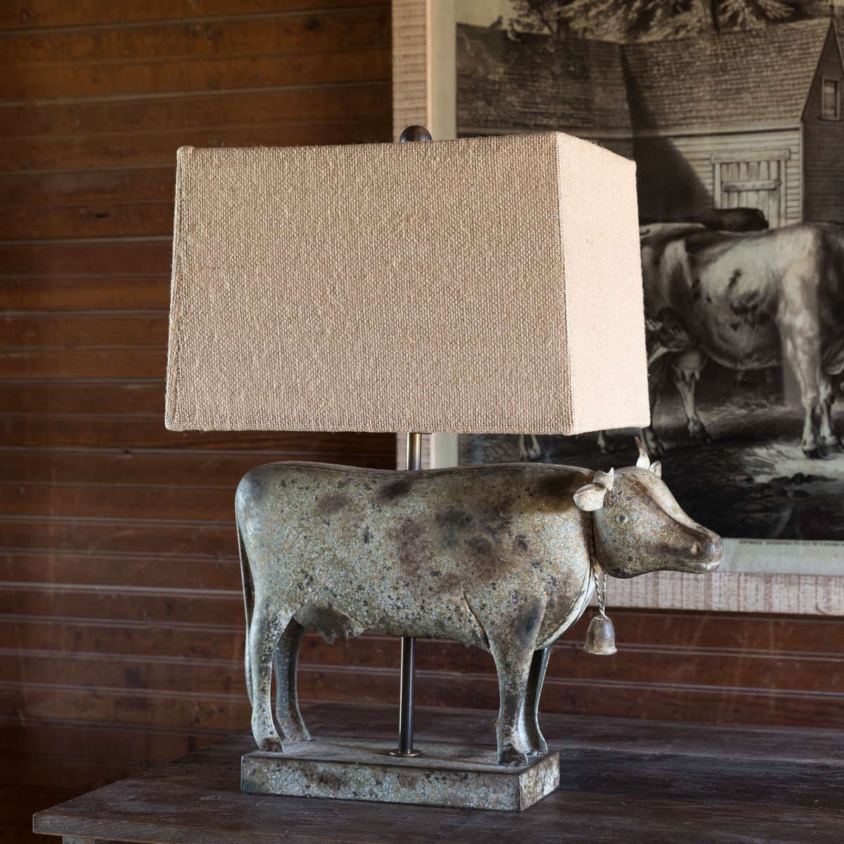 Folk Art Metal Work Cow Lamp Min 2
