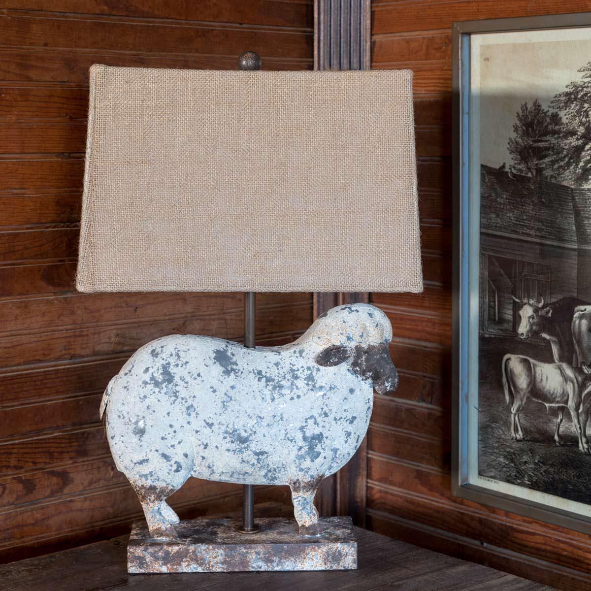 Folk Art Metal Work Lamb Lamp Min 2