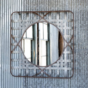 Woven Metal Tobacco Basket Mirror # 36