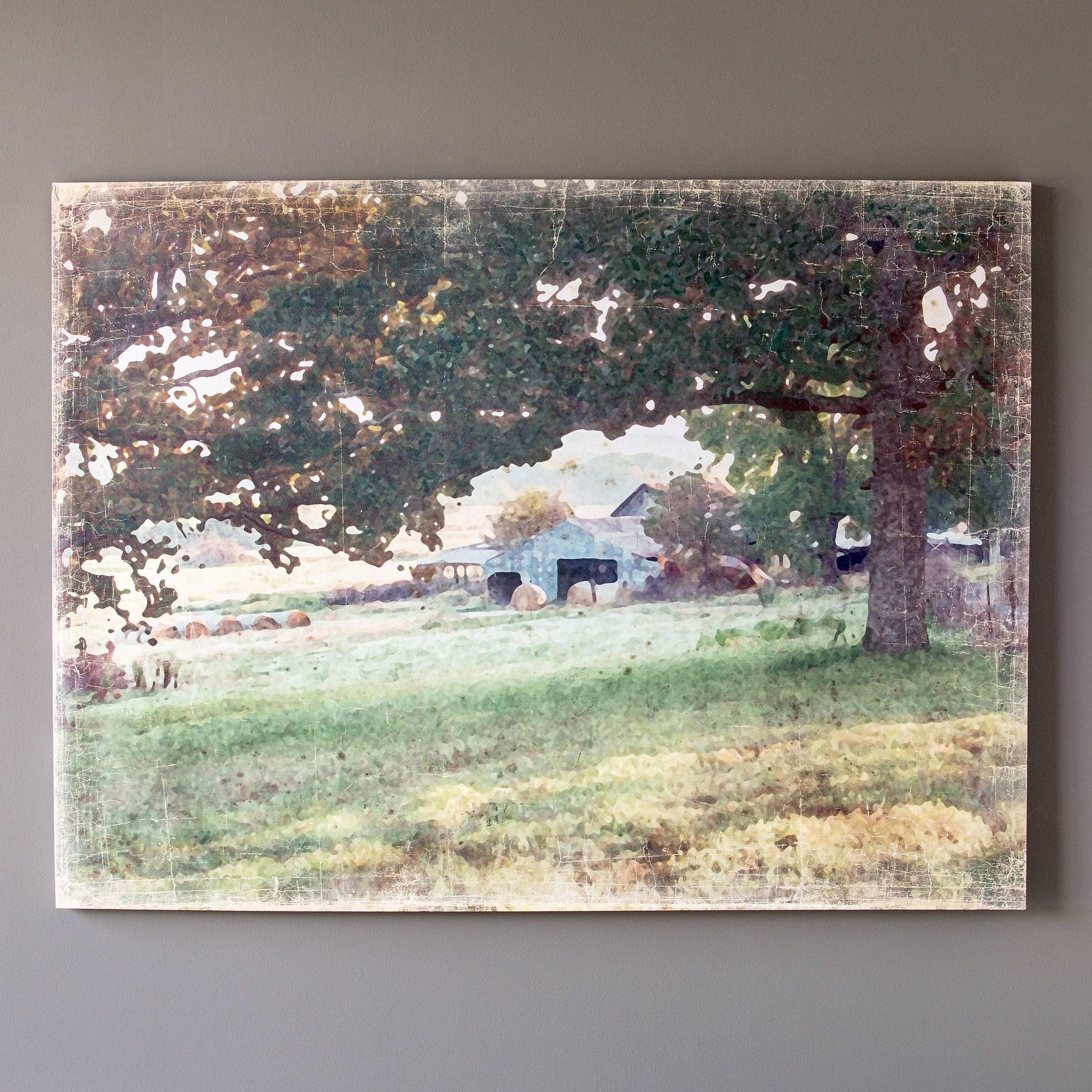 Distressed Watercolor Barn Print On Canvas Min 3 TRUCK