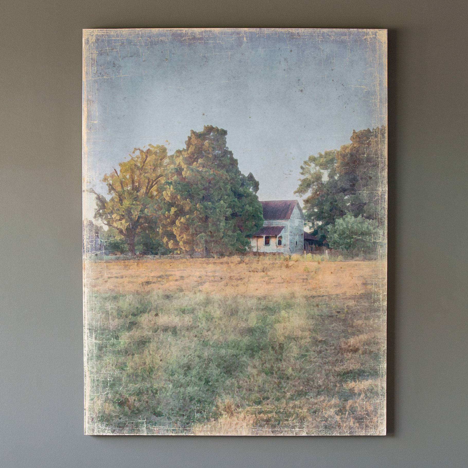 Distressed Watercolor Homestead Print On Canvas Min 3