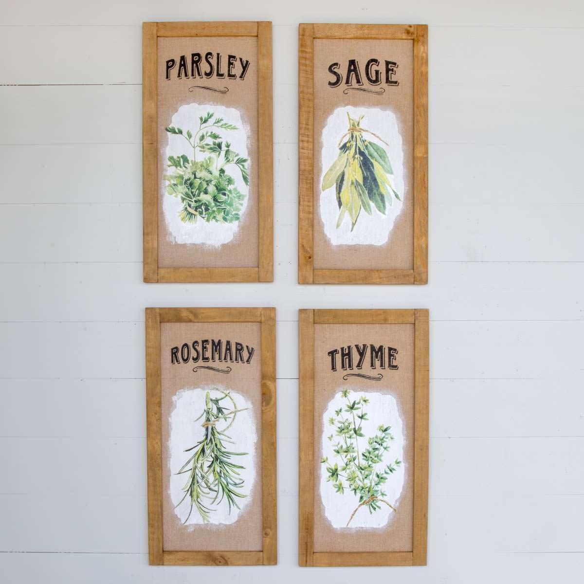 Framed Herb Prints on Burlap Set of 4