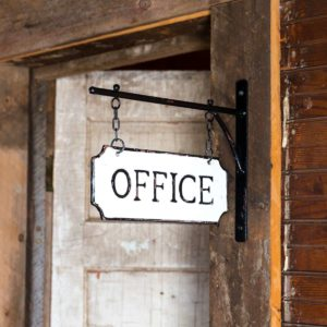 Metal Office Sign with Hanging Display Bar Min 2