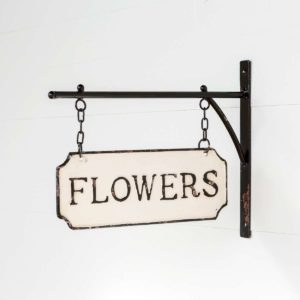 Metal Flower Sign with Hanging Display Bar Min 2