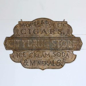 Embossed Metal Drug Store Sign     Min 4