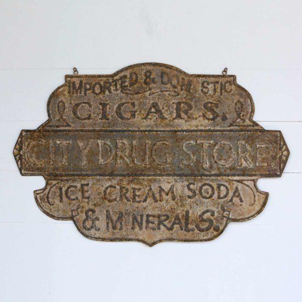 Embossed Metal Drug Store Sign     Min 4
