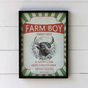 Framed Feedsack Farm Boy Sweet Feed