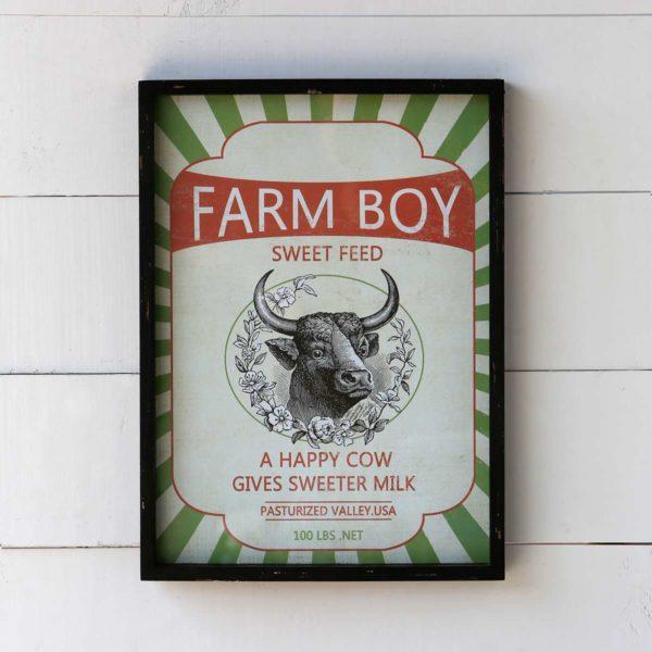 Framed Feedsack Farm Boy Sweet Feed
