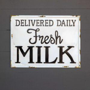 Metal Milk Delivery Sign
