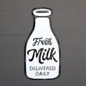 Metal Fresh Milk Bottle Sign
