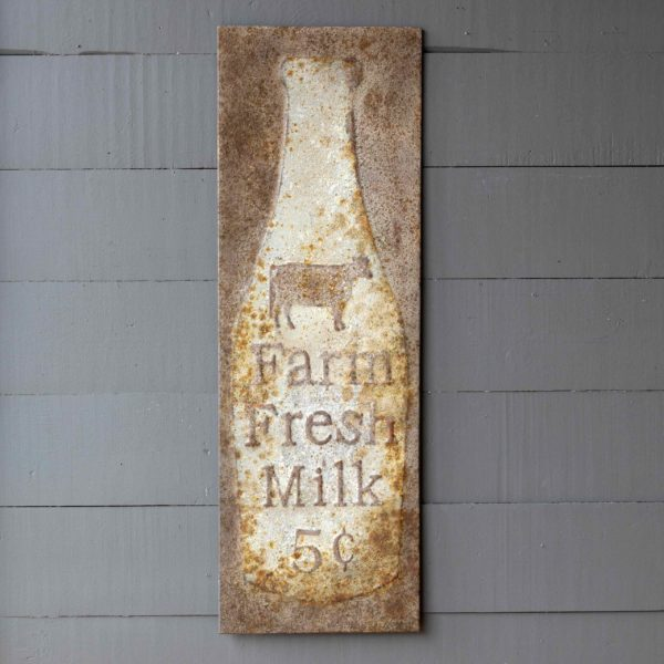 Aged Metal Fresh Milk 5 Cents Sign