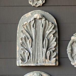 Aged Grey Architectural Acanthus Leaf Medallion