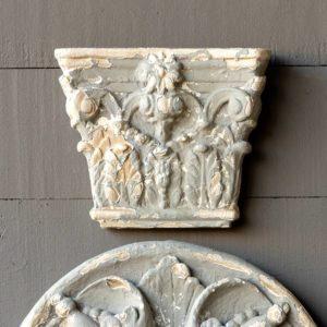 Aged Grey Corinthian Column Cap Medallion