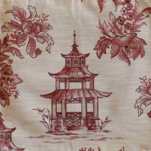 Coral Pagoda Toile Fabric