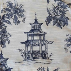 Blue Pagoda Toile Fabric