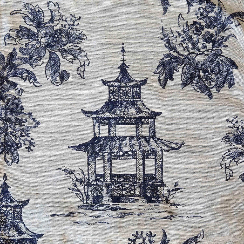 Blue Pagoda Toile Fabric