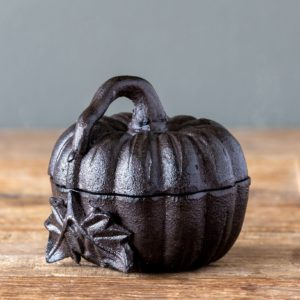 Cast Iron Pumpkin Box with Lid, Large Min 2