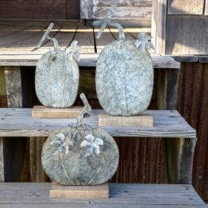 Weathered Tin Pumpkin Set of 3