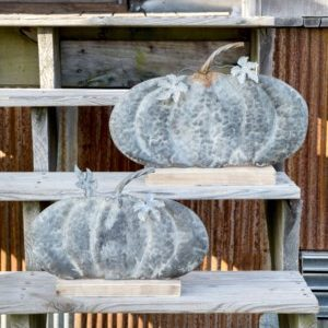 Weathered Tin Fairy Tale Pumpkin Set of 2