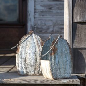 Embossed Metal Tall Pumpkin Buckets Set of 2