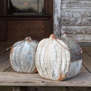 Embossed Tin Short Pumpkin Buckets Set of 2