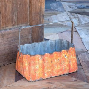 Corrugated Tin Pumpkin Basket, 14""