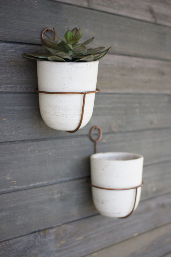White Wash Clay Flower Bell W/ Copper Finish Wall Mount