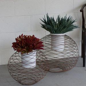 S/2 Copper Finish Wire Ball Planters W/ White Wash Pots