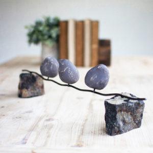Set Of Three Clay Birds On A Wire W/Stone Base