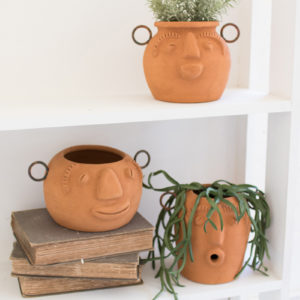 Set Of Three Funky Face Clay Planters