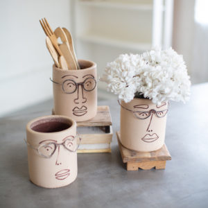 Set Of Three Clay Face Planters With Wire Glasses