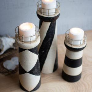 Set Of Three Clay Light Houses