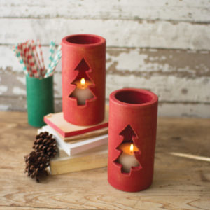 Clay Christmas Tree Luminary - Red - (Includes 6 Boxes with 6 items in each Box)